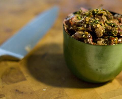 Tiras de carne con jengibre